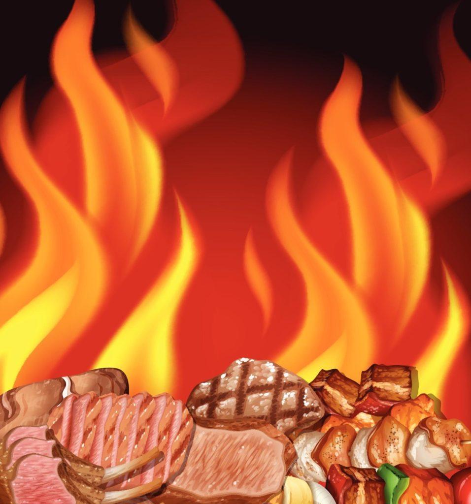 Feuer grillen grillgut fleisch lizenzfreie vektoren
