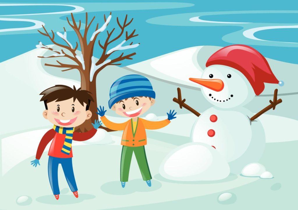 Kinder Schneemann winter weihnachten lizenzfreie vektoren
